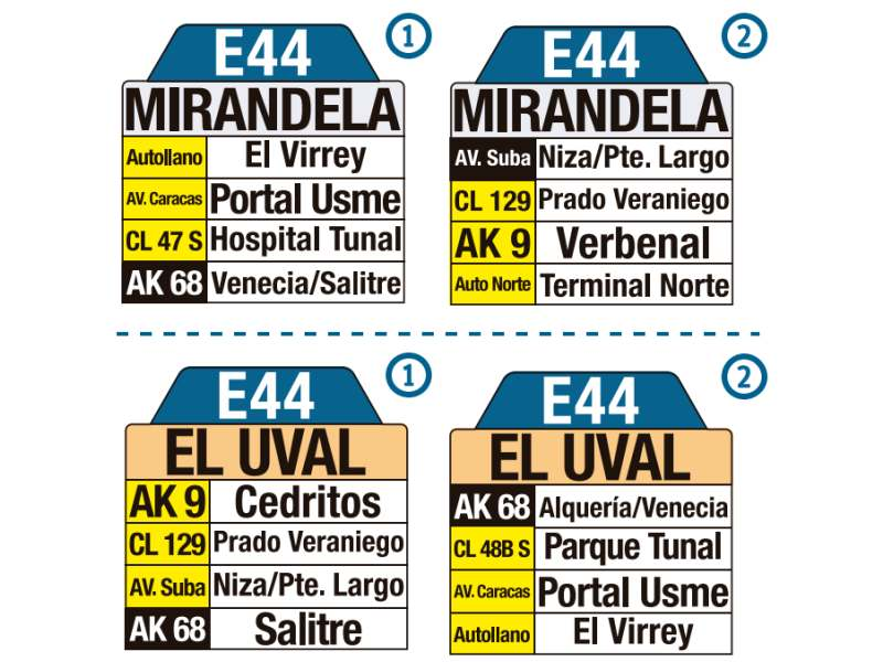 E44 Mirandela - El Uval, letrero tabla bus del SITP