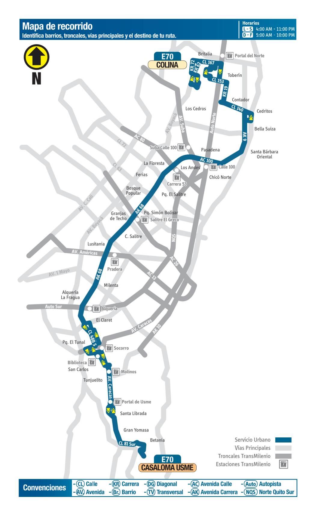 E70 Casaloma Usme - Colina, mapa bus urbano Bogotá
