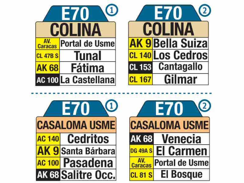 E70 Casaloma Usme - Colina, letrero tabla bus del SITP