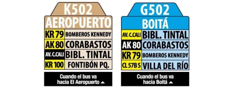 K502-G502 Aeropuerto - Boitá, letrero tabla bus del SITP