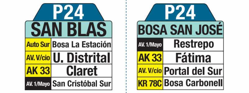 P24 San Blas - Bosa San José, letrero tabla bus del SITP