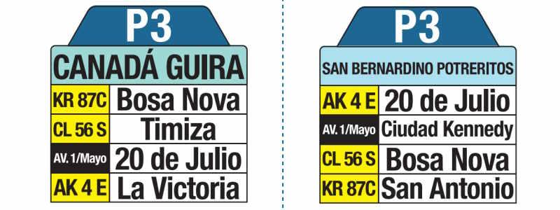 P3 Canada Guira - San Bernardino Potreritos, letrero tabla bus del SITP