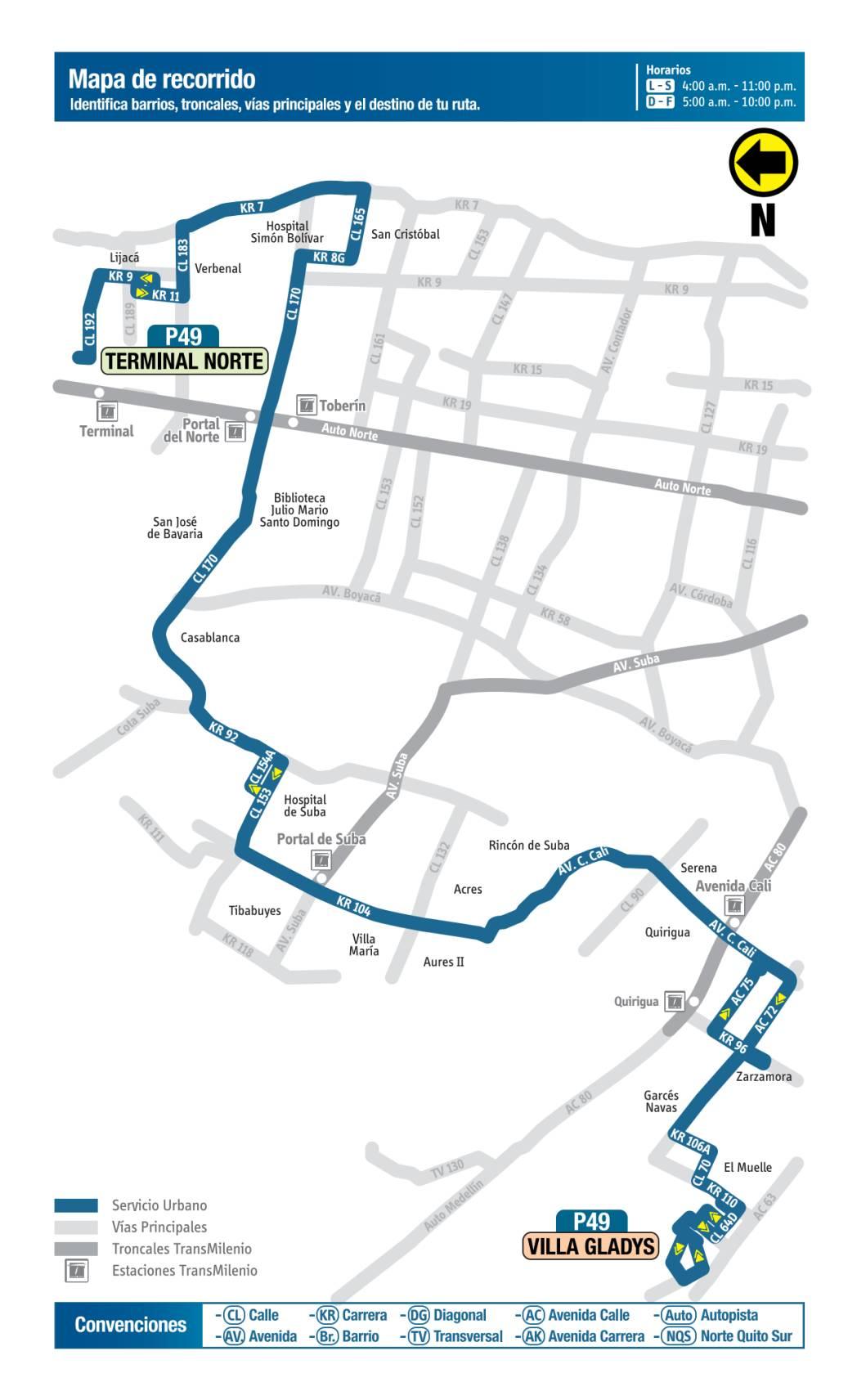 P49 Villa Gladys - Terminal Norte, mapa bus urbano Bogotá