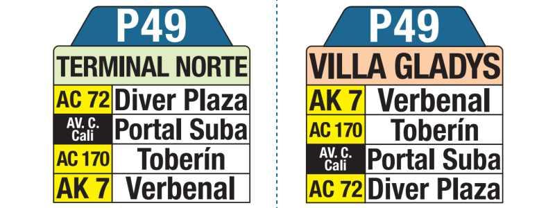 P49 Villa Gladys - Terminal Norte, letrero tabla bus del SITP