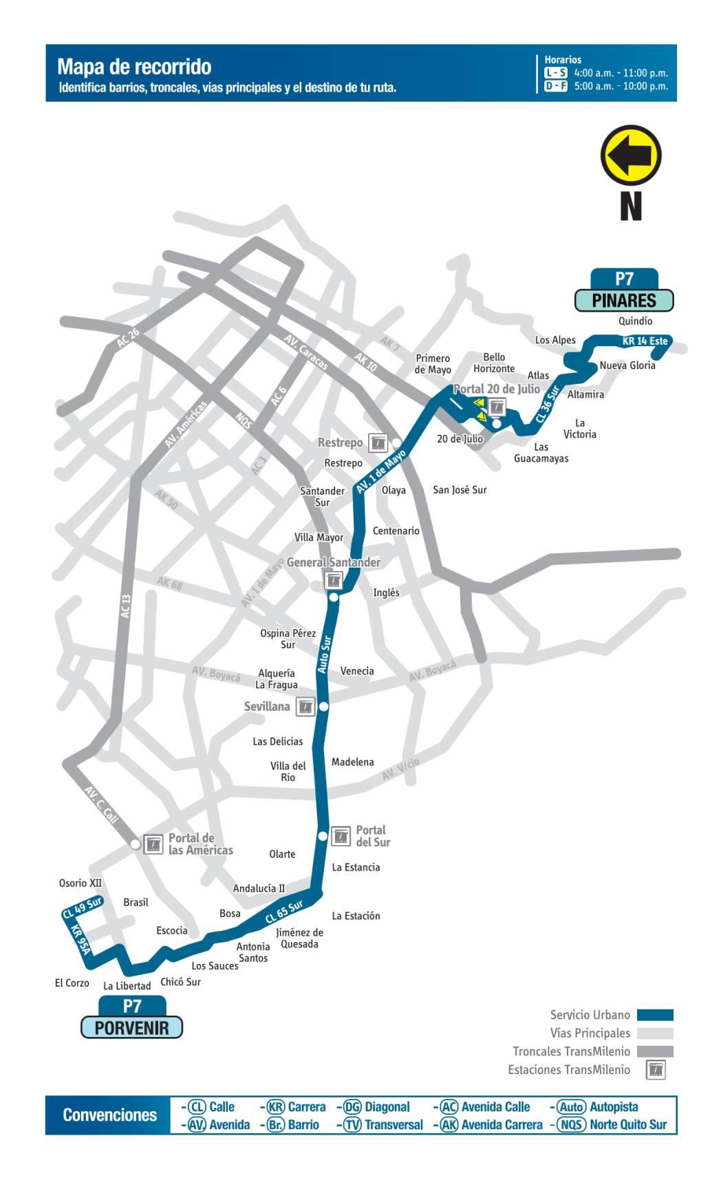 P7 Porvenir - Pinares, mapa bus urbano Bogotá