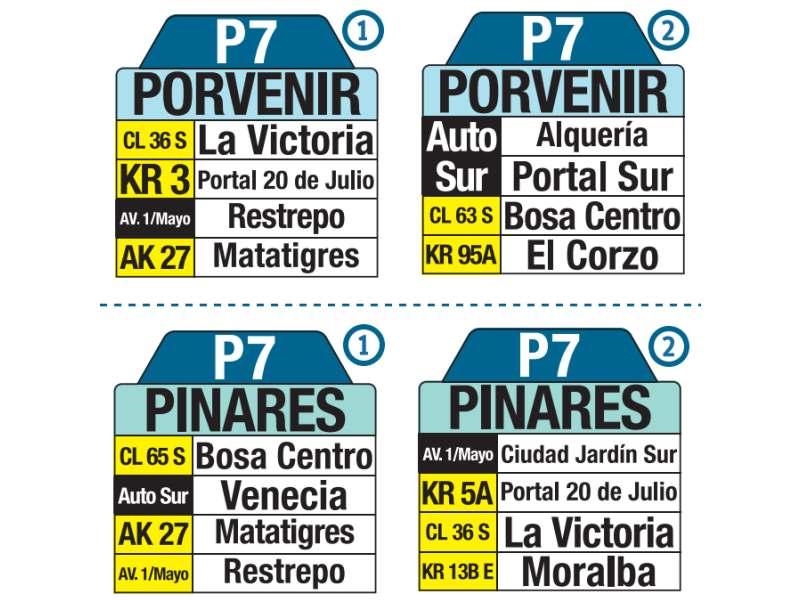 P7 Porvenir - Pinares, letrero tabla bus del SITP