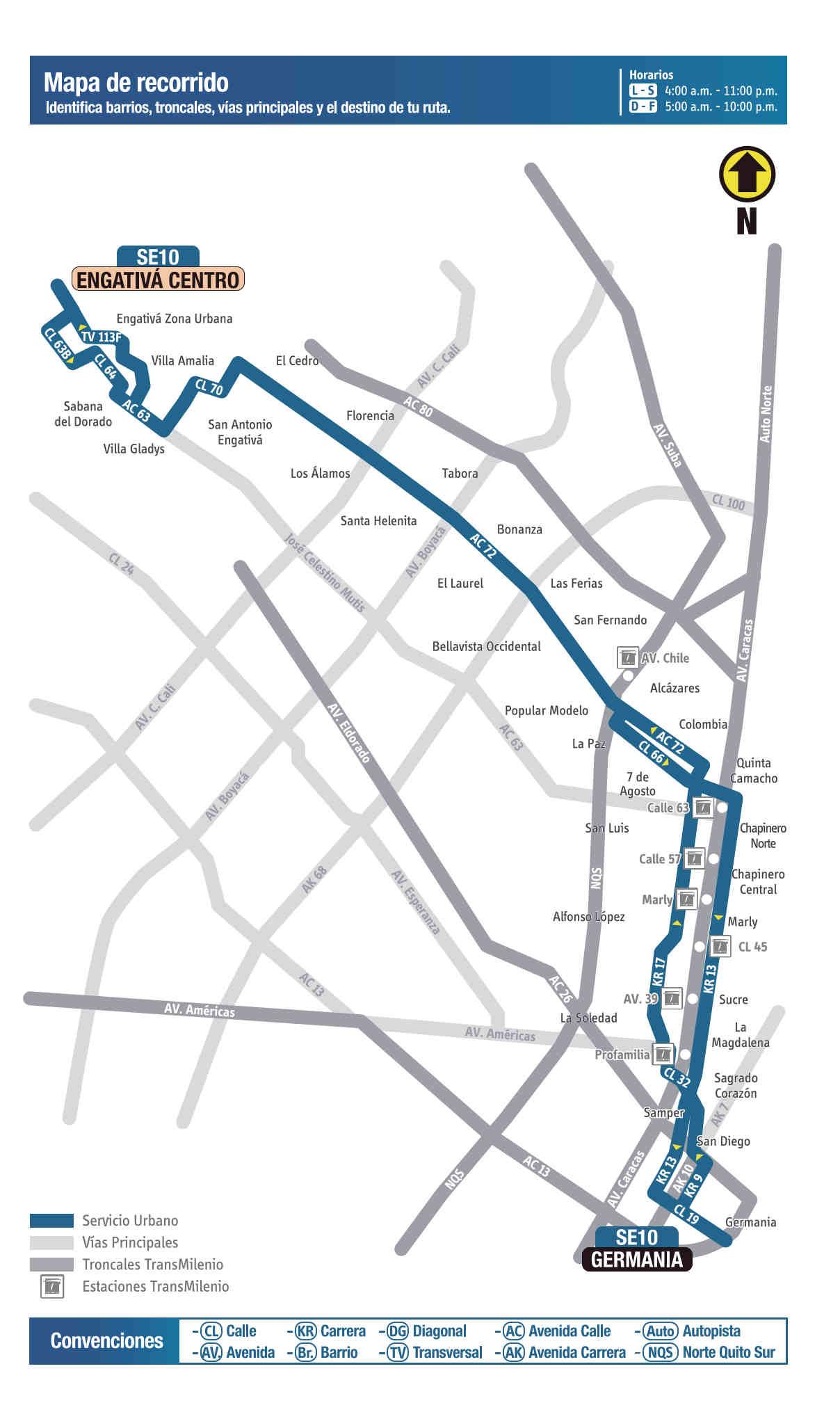 SE10 Engativá Centro - Germania, mapa bus urbano Bogotá