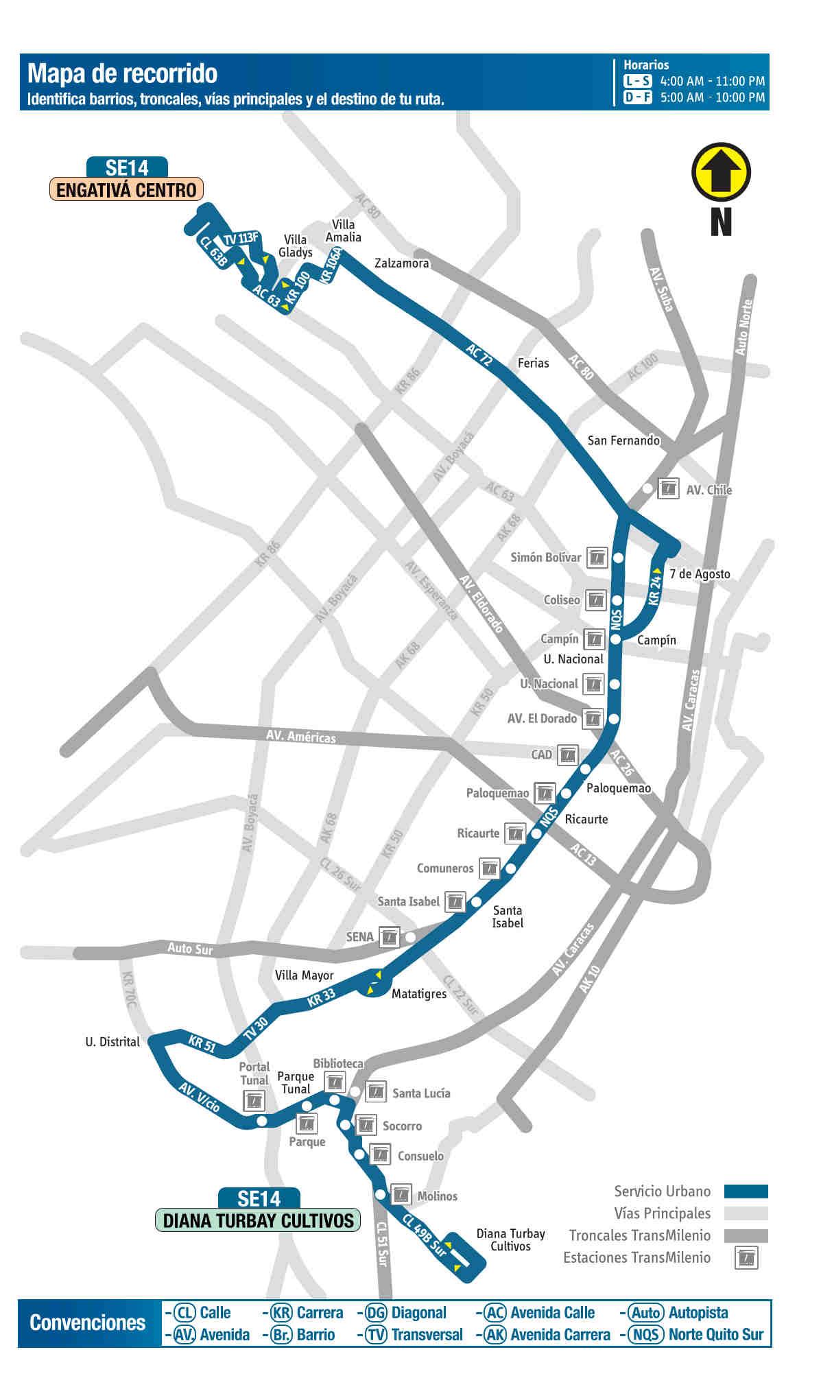 SE14 Diana Turbay Cultivos - Engativá Centro, mapa bus urbano Bogotá