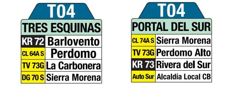T04 Tres Esquinas - Portal del Sur, letrero tabla bus del SITP