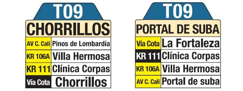 T09 Chorrillos - Portal de Suba, letrero tabla bus del SITP