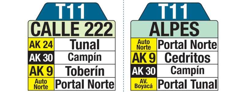 T11 Calle 222 - Alpes, letrero tabla bus del SITP