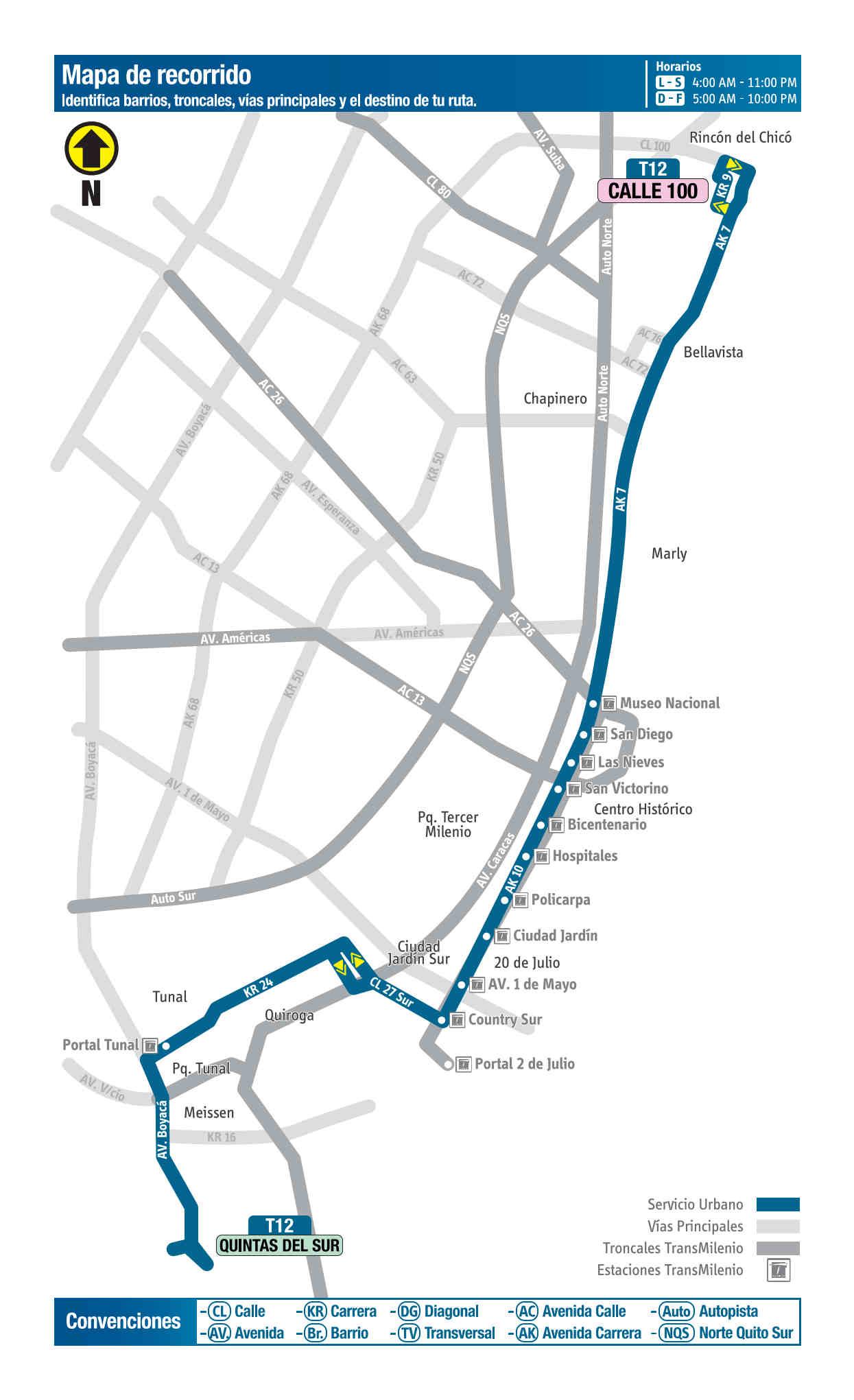 T12 Quintas del Sur - Calle 100, mapa bus urbano Bogotá