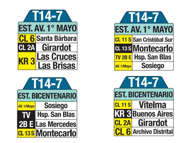 T14-7 Estación Bicentenario - Estación Avenida 1 Mayo, letrero tabla bus del SITP