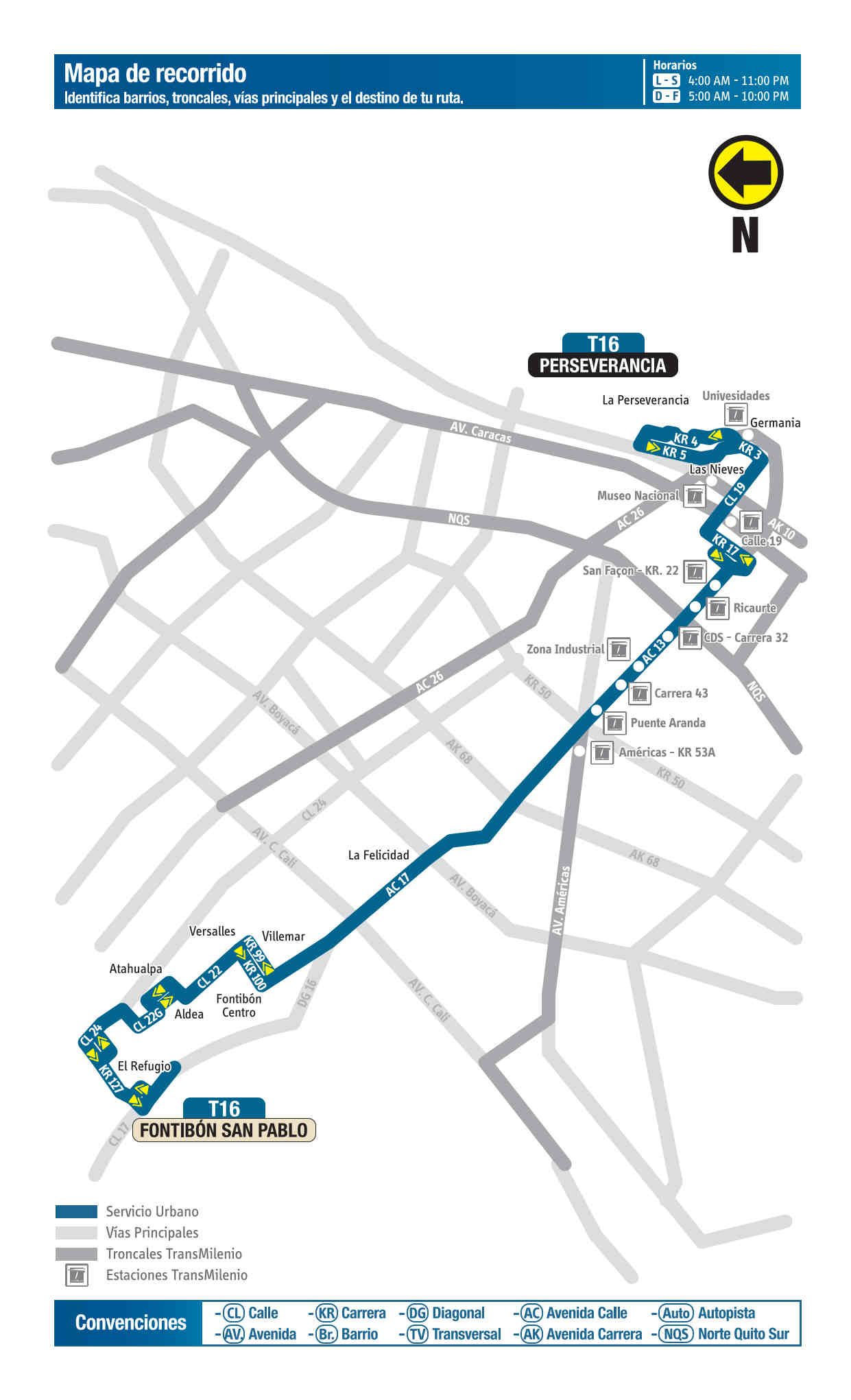 T16 Fontibón San Pablo - La Perseverancia, mapa bus urbano Bogotá