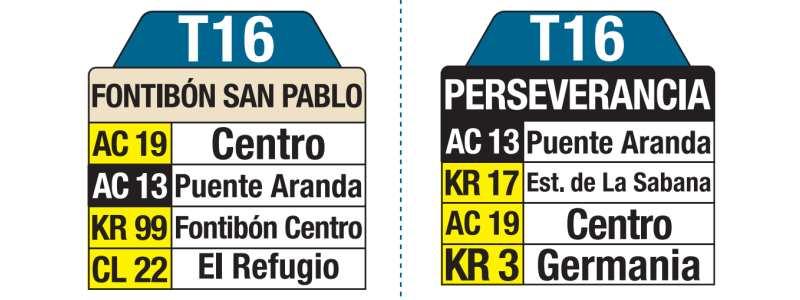T16 Fontibón San Pablo - La Perseverancia, letrero tabla bus del SITP
