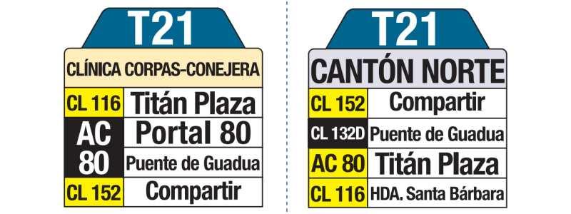 T21 Cantón Norte - Corpas Conejera, letrero tabla bus del SITP