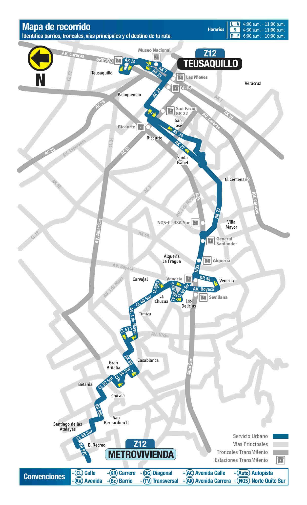 Z12 Teusaquillo - Metrovivienda, mapa bus urbano Bogotá