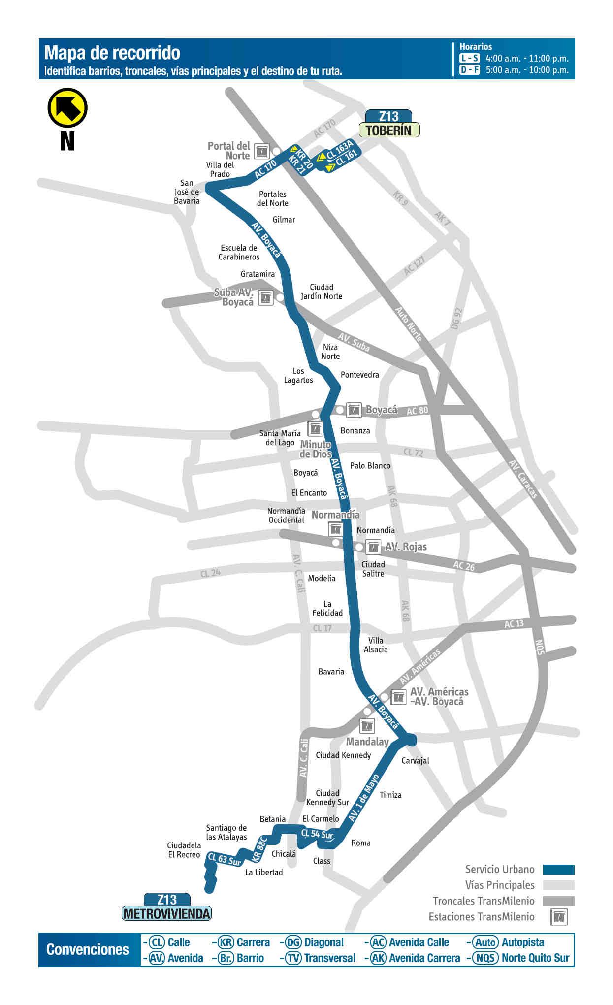 Z13 Toberín - Metrovivienda, mapa bus urbano Bogotá