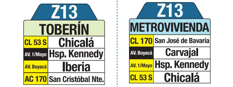 Z13 Toberín - Metrovivienda, letrero tabla bus del SITP