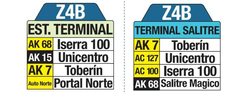 Z4B Estación Terminal - Terminal Salitre, letrero tabla bus del SITP