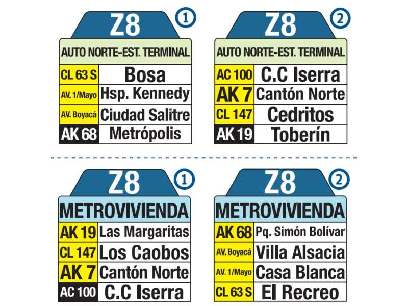 Z8 Metrovivienda - Auto Norte Estación Terminal, letrero tabla bus del SITP