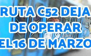 Aviso suspensión ruta C52 urbana del SITP
