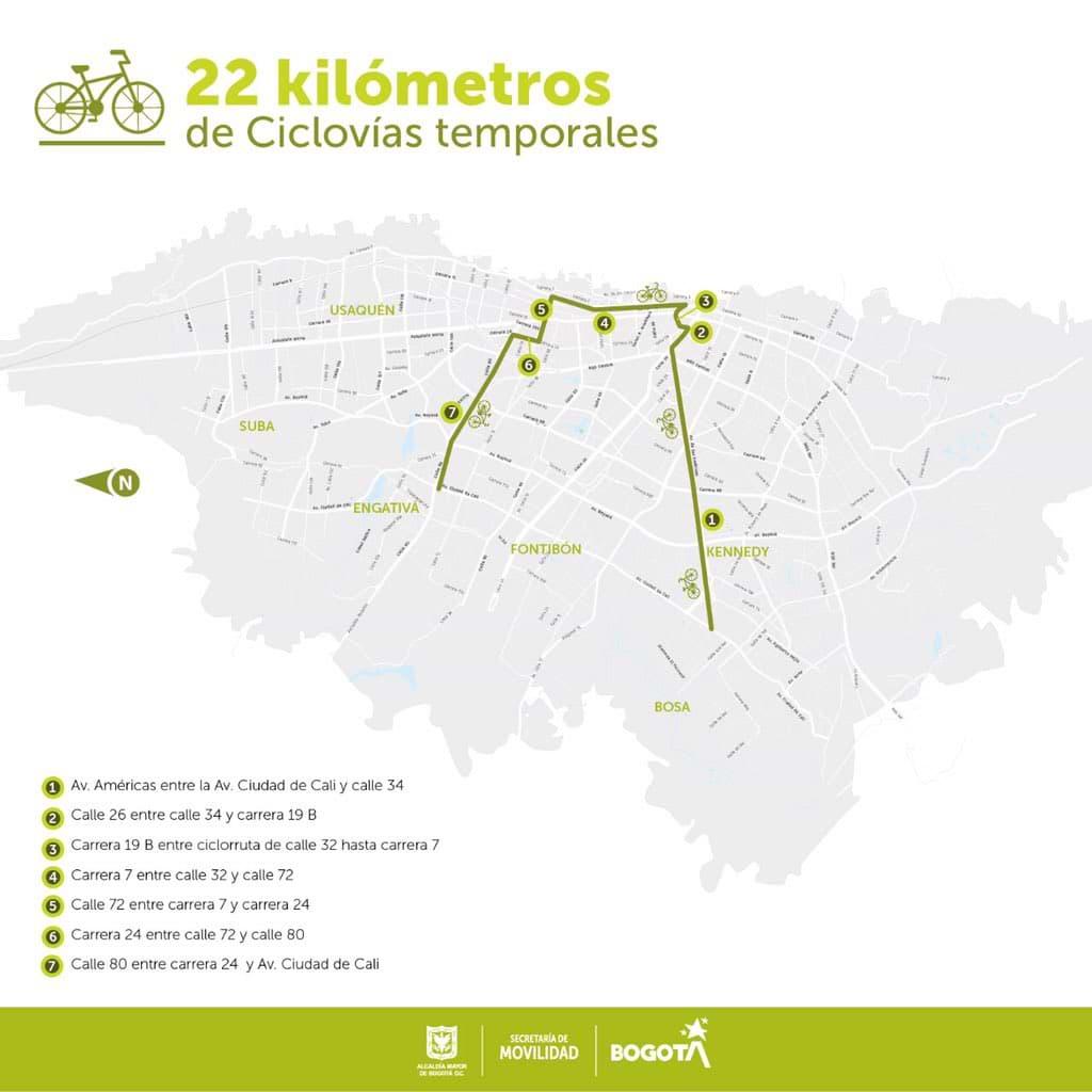 Ciclovías temporales en Bogotá, desde el 16 de marzo de 2020