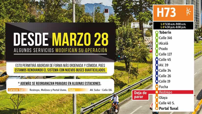 Paradas de la ruta H73 desde el 28 de marzo de 2020