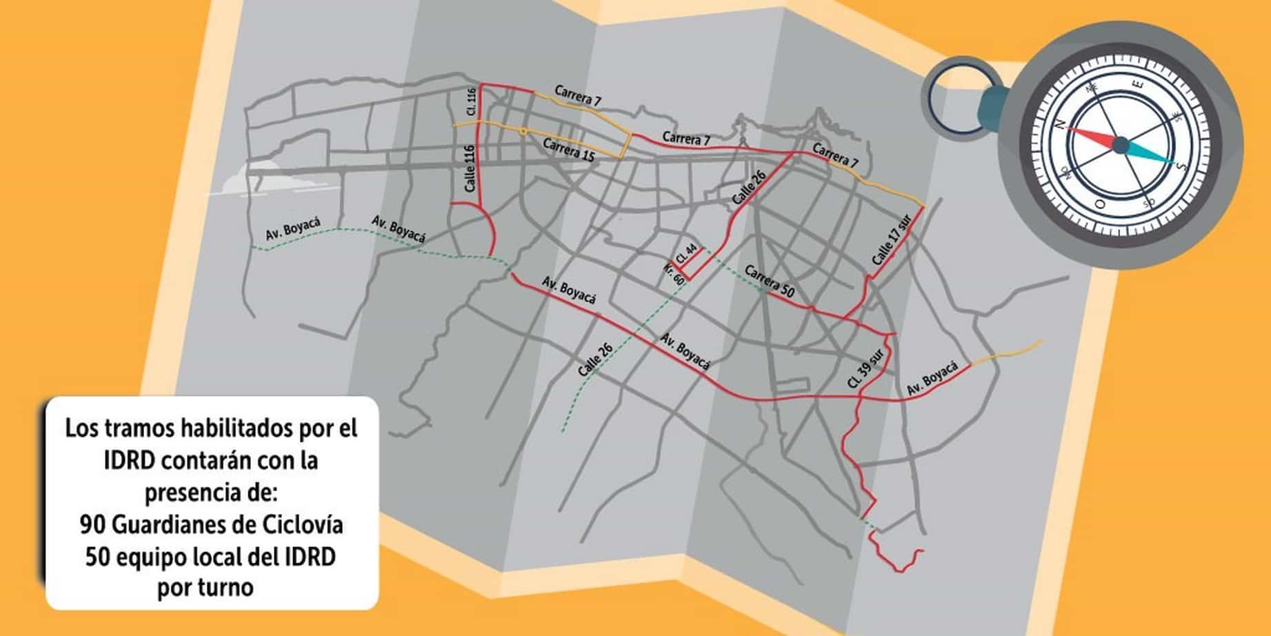 Mapa de tramos de ciclovía temporal, 17 de marzo de 2020