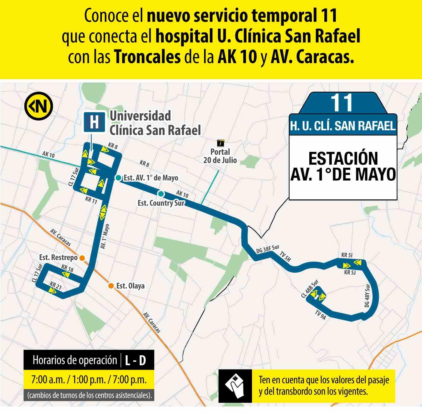 Ruta 11 – Hospital Universidad Clínica San Rafael (profesionales y trabajadores sector salud)