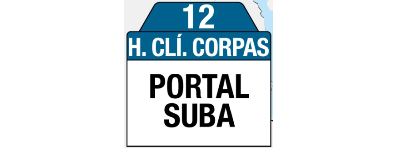 Ruta 12 – Hospital Clínica Juan N. Corpas (profesionales y trabajadores sector salud), rutero, tablas y letreros