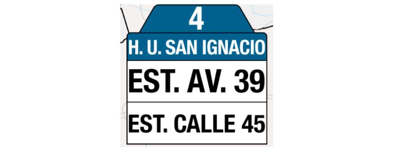 Ruta 4 – Hospital Universitario San Ignacio (profesionales y trabajadores sector salud), tablas y letreros