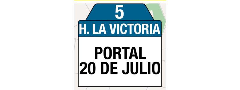 Ruta 5 – Hospital La Victoria (profesionales y trabajadores sector salud), letreros y tablas