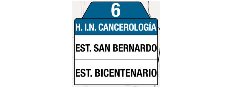 Ruta 6 – Instituto Nacional de Cancerología, tabla, rutero y letreros