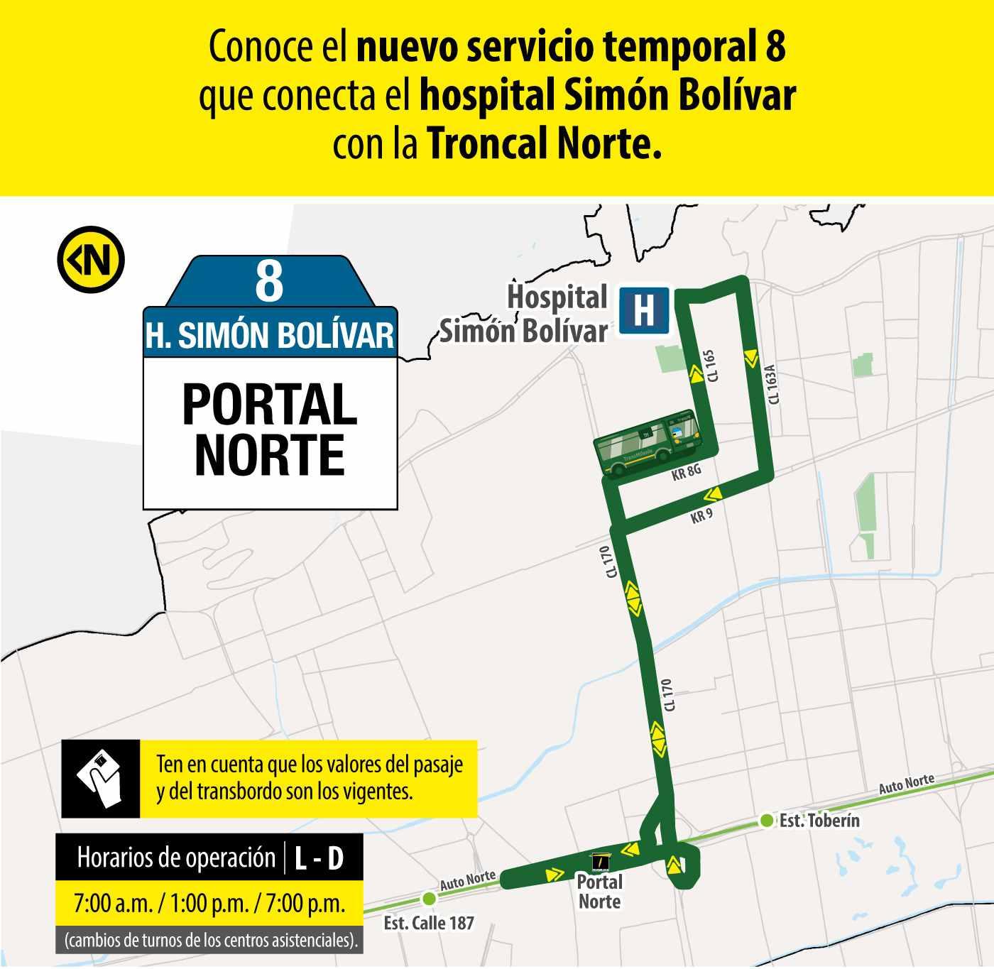 Ruta 8 – Hospital Simón Bolívar (profesionales y trabajadores sector salud)