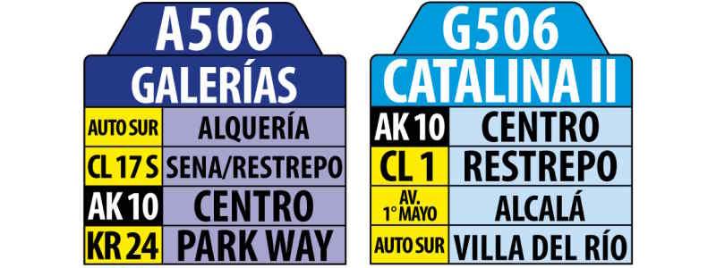 A506-G506 Galerías - Catalina II [Urbana], letrero tabla bus del SITP