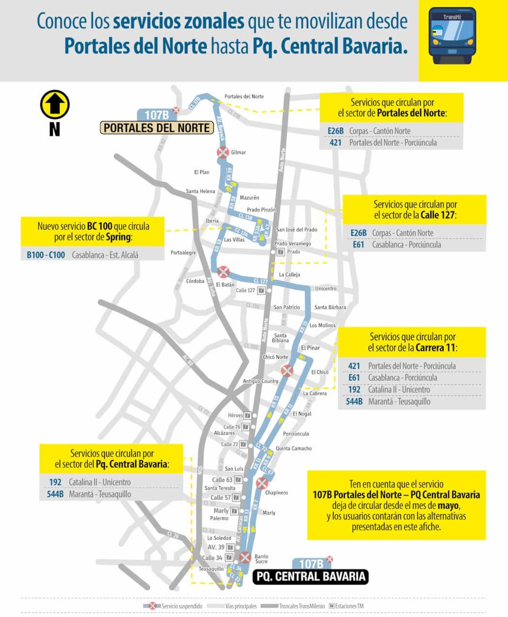 Información de rutas alternativas a la 107B