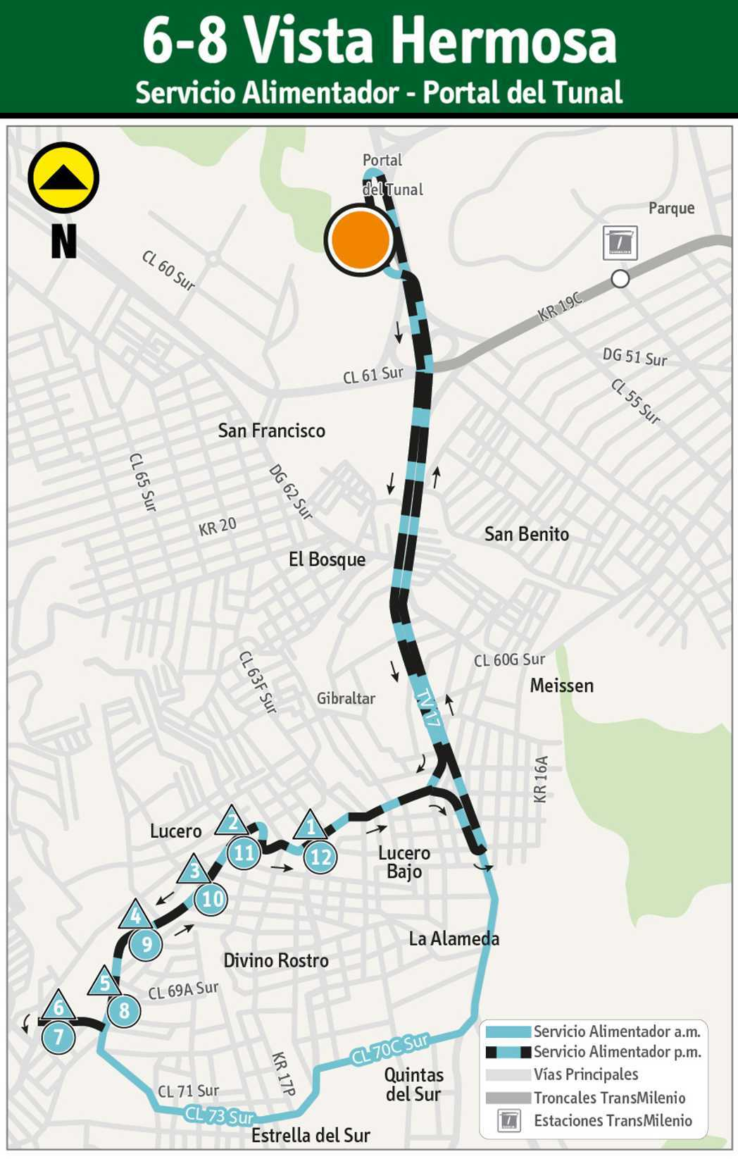 Mapa de la ruta alimentadora 6-8 Vista Hermosa