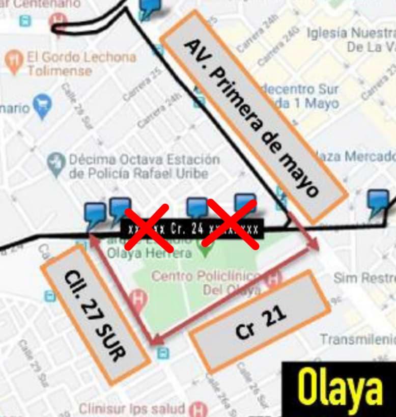 Urbana 796A Mochuelo Bajo - Teusaquillo, cambios en la carrera 24