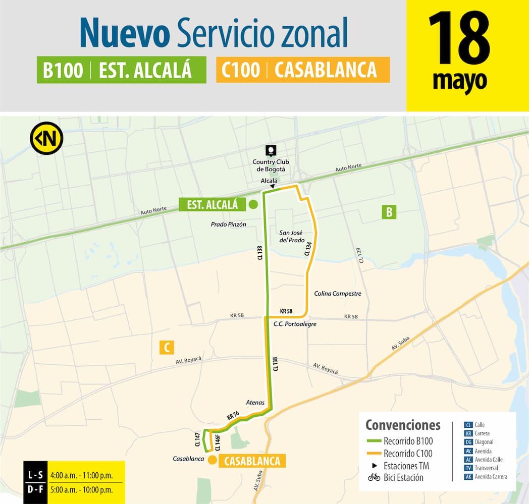 Ruta SITP: B100 / C100 Estación TM Alcalá - Casablanca Norte Suba, mapa bus urbano Bogotá