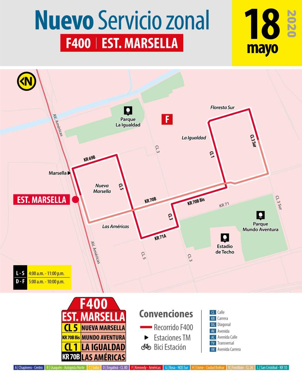Ruta circular F400 a la Estación Marsella de Transmilenio