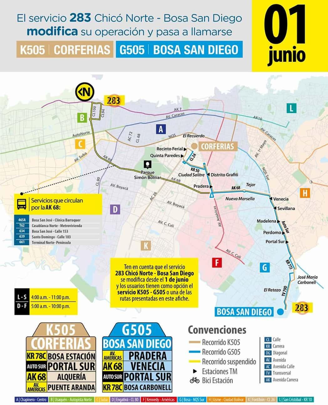 G505 / K 505 Bosa San Diego - Corferias, mapa bus urbano Bogotá