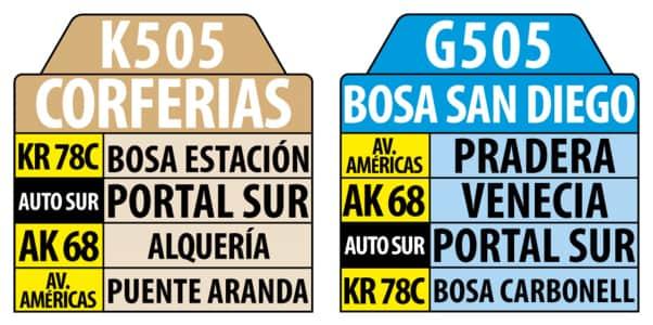 K505 Corferias - G505 Bosa San Diego , letrero tabla bus del SITP