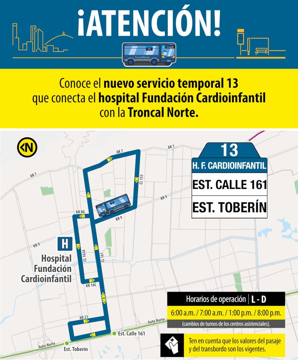Ruta 13 – Hospital Fundación Cardio Infantil (bus azul)