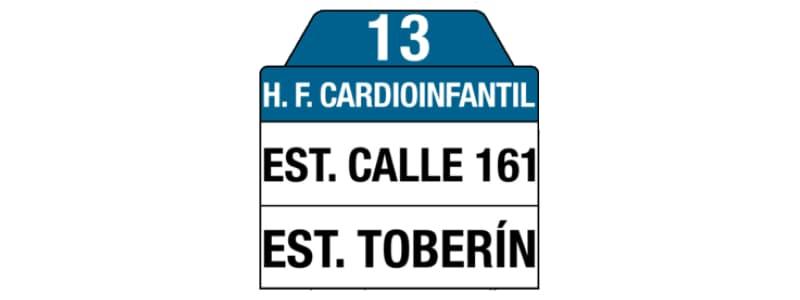 Ruta 13 – Hospital Fundación Cardio Infantil (bus azul), letrero tabla bus del SITP