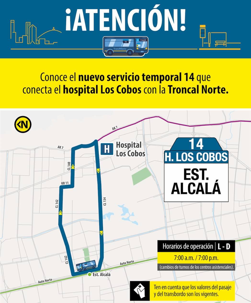 Ruta 14 Hospital Los Cobos, , mapa bus urbano Bogotá