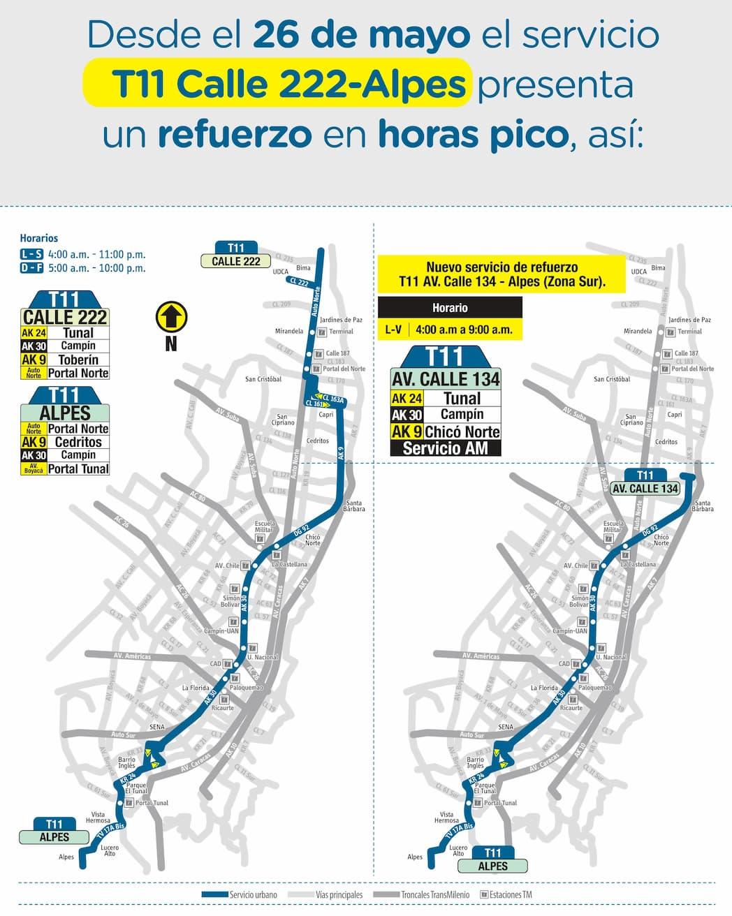 Refuerzo de la ruta urbana del SITP T11 Alpes - Avenida Calle 134
