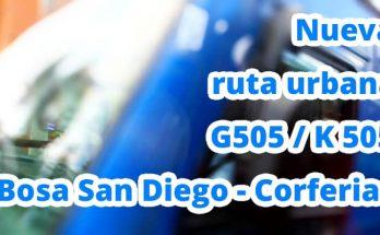Información sobre la nueva ruta urbana G505 / K 505 Bosa San Diego - Corferias