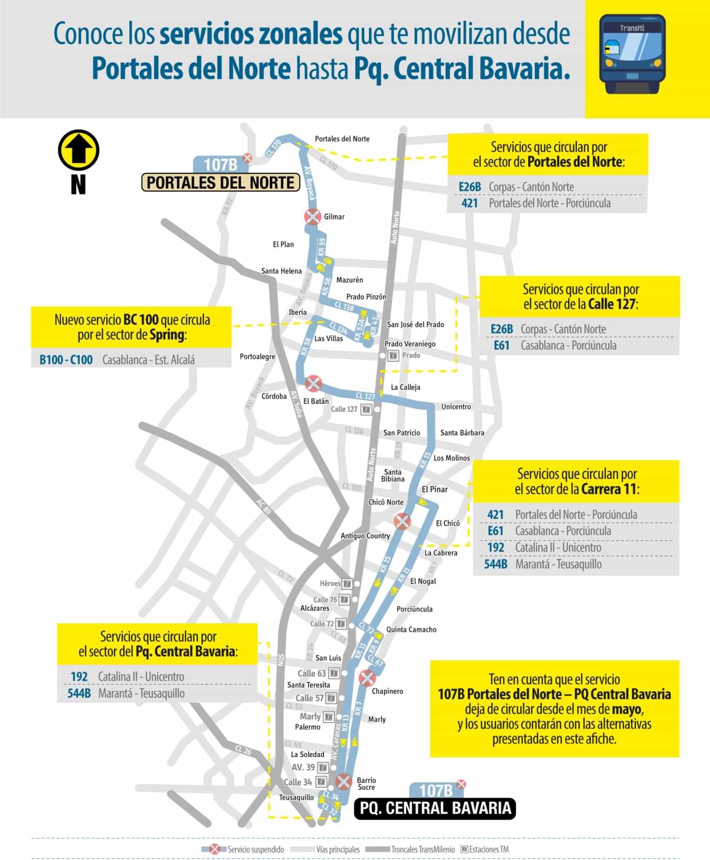Alternativas a la ruta 107B del SITP