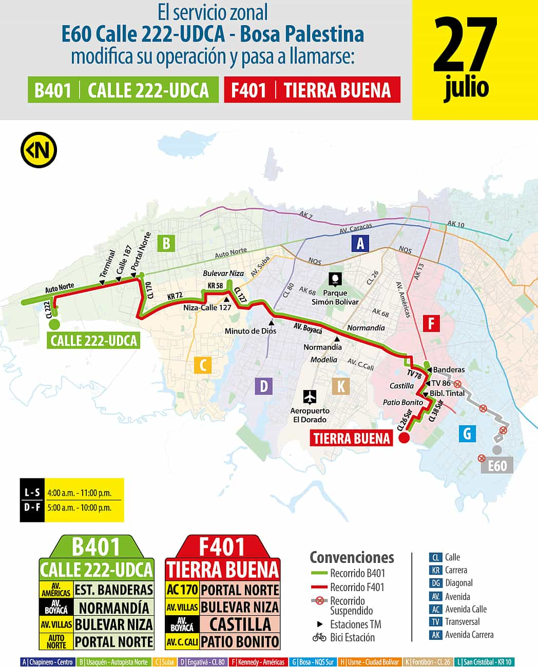 Servicio de bus urbano B401- Calle 222 UDCA - F401 Tierra Buena